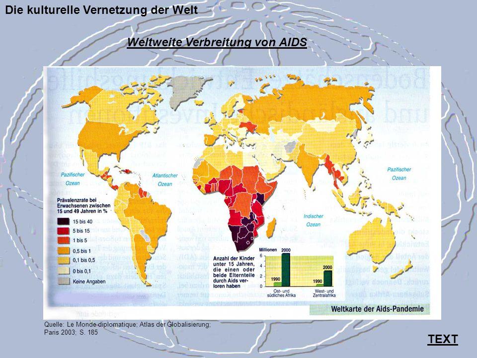 Die kulturelle Vernetzung der Welt Quelle: Le Monde diplomatique; Atlas der Globalisierung; Paris 2003; S. 185 Weltweite Verbreitung von AIDS TEXT