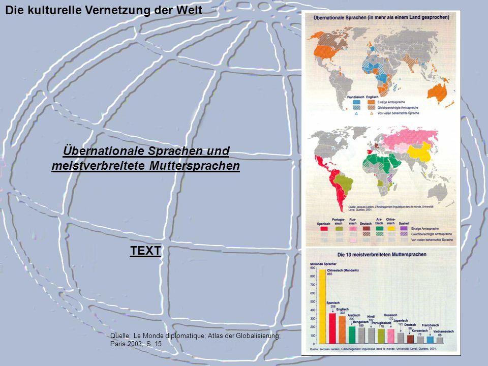 Die kulturelle Vernetzung der Welt Quelle: Le Monde diplomatique; Atlas der Globalisierung; Paris 2003; S. 15 Übernationale Sprachen und meistverbreit