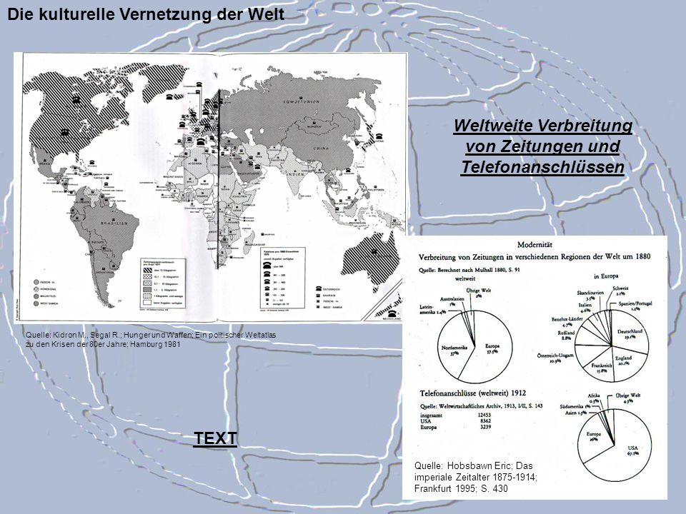 Die kulturelle Vernetzung der Welt Quelle: Kidron M., Segal R.; Hunger und Waffen; Ein politischer Weltatlas zu den Krisen der 80er Jahre; Hamburg 198
