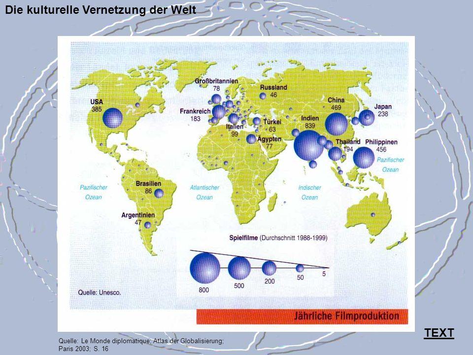 Die kulturelle Vernetzung der Welt Quelle: Le Monde diplomatique; Atlas der Globalisierung; Paris 2003; S. 16 TEXT