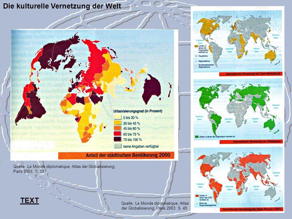 Die kulturelle Vernetzung der Welt Quelle: Le Monde diplomatique; Atlas der Globalisierung; Paris 2003; S. 45 Quelle: Le Monde diplomatique; Atlas der