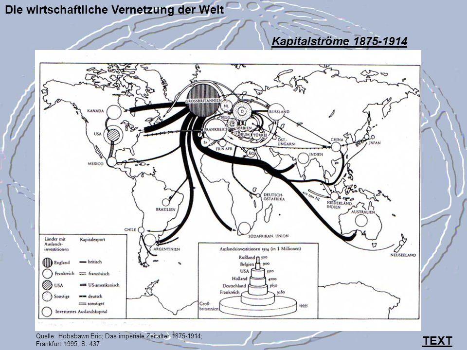 Die wirtschaftliche Vernetzung der Welt Quelle: Hobsbawn Eric; Das imperiale Zeitalter 1875-1914; Frankfurt 1995; S. 437 Kapitalströme 1875-1914 TEXT