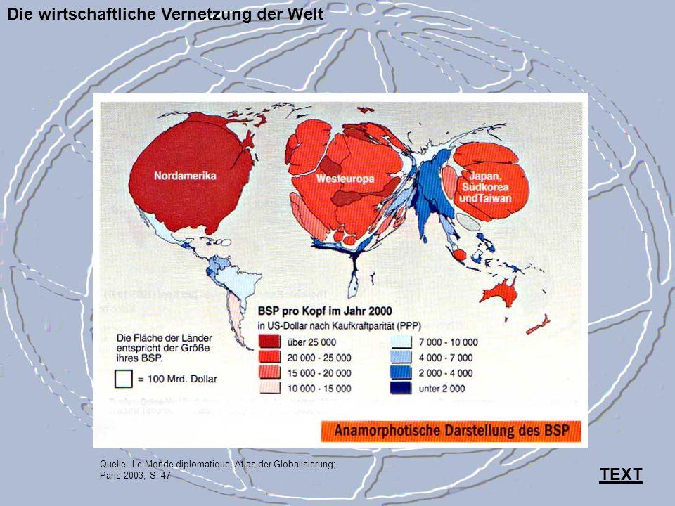 Die wirtschaftliche Vernetzung der Welt Quelle: Le Monde diplomatique; Atlas der Globalisierung; Paris 2003; S. 47 TEXT