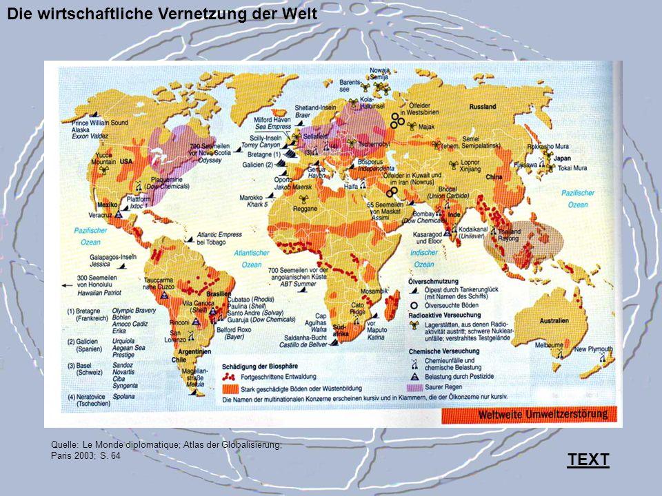 Die wirtschaftliche Vernetzung der Welt Quelle: Le Monde diplomatique; Atlas der Globalisierung; Paris 2003; S. 64 TEXT