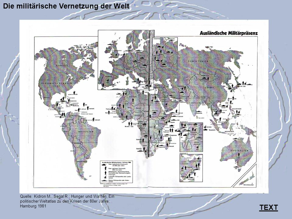 Die militärische Vernetzung der Welt Quelle: Kidron M., Segal R.; Hunger und Waffen; Ein politischer Weltatlas zu den Krisen der 80er Jahre; Hamburg 1