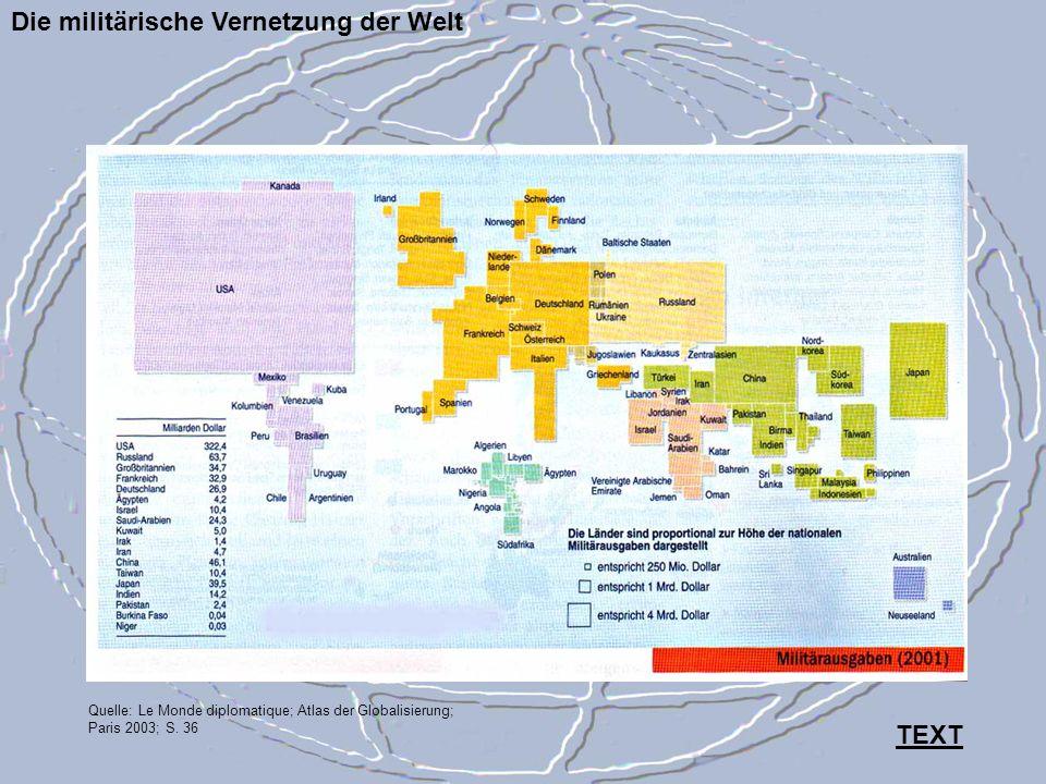 Die militärische Vernetzung der Welt Quelle: Le Monde diplomatique; Atlas der Globalisierung; Paris 2003; S. 36 TEXT