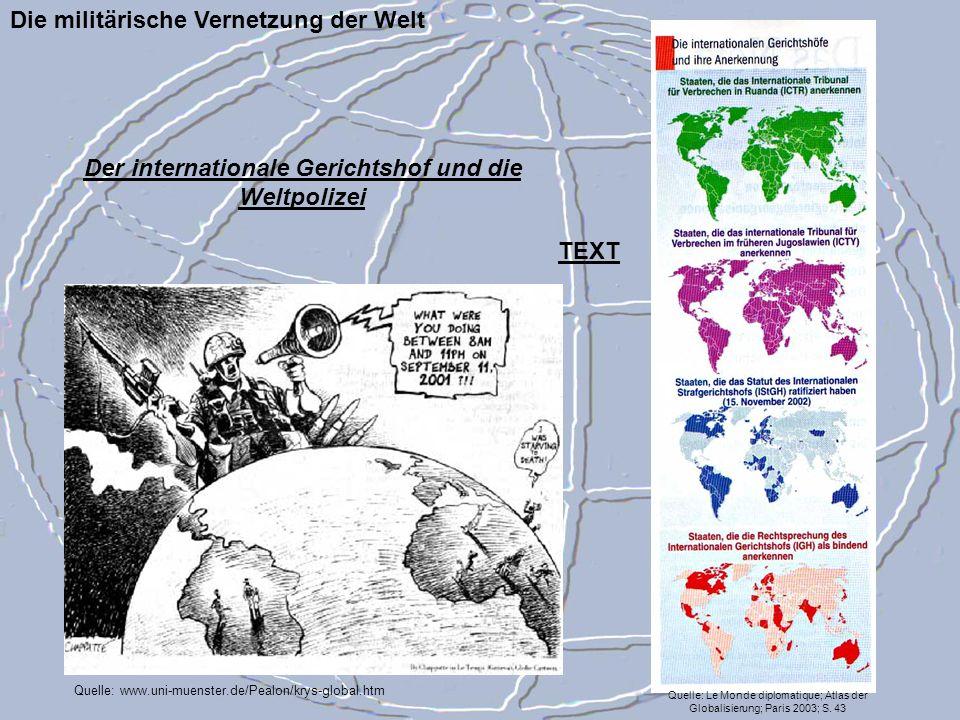 Die militärische Vernetzung der Welt Quelle: Le Monde diplomatique; Atlas der Globalisierung; Paris 2003; S. 43 Quelle: www.uni-muenster.de/Pealon/kry