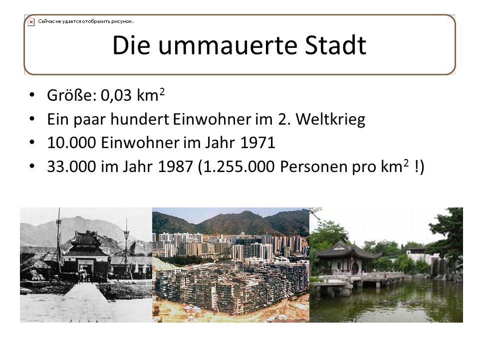 Die ummauerte Stadt Größe: 0,03 km 2 Ein paar hundert Einwohner im 2. Weltkrieg 10.000 Einwohner im Jahr 1971 33.000 im Jahr 1987 (1.255.000 Personen