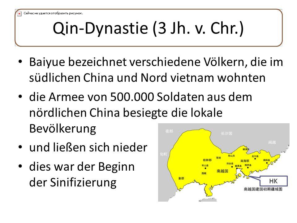Qin-Dynastie (3 Jh. v. Chr.) Baiyue bezeichnet verschiedene Völkern, die im südlichen China und Nord vietnam wohnten die Armee von 500.000 Soldaten au