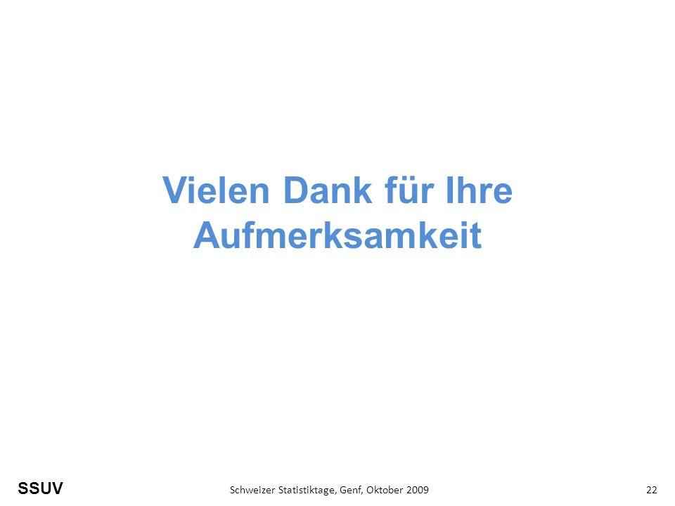 SSUV Schweizer Statistiktage, Genf, Oktober 200922 Vielen Dank für Ihre Aufmerksamkeit