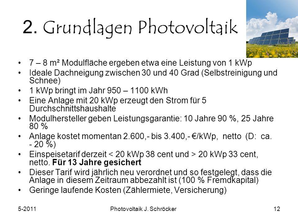 5-2011Photovoltaik J. Schröcker12 2.