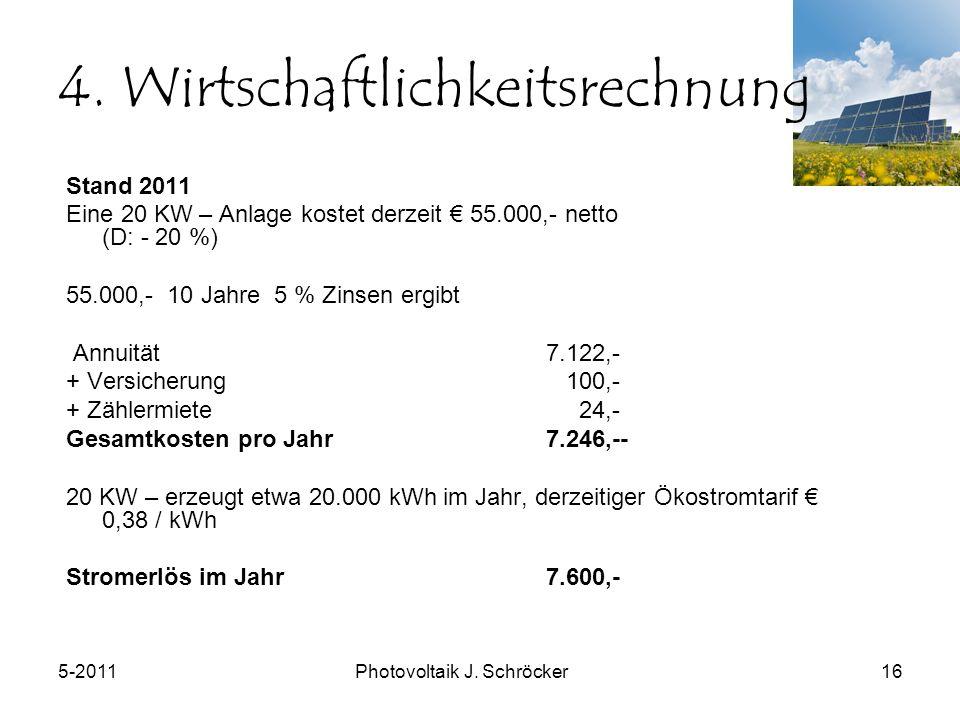 5-2011Photovoltaik J. Schröcker16 4.