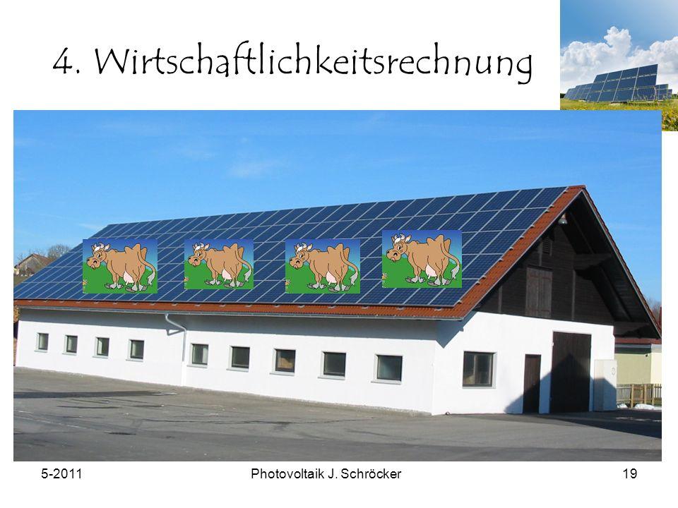 5-2011Photovoltaik J. Schröcker19 4. Wirtschaftlichkeitsrechnung