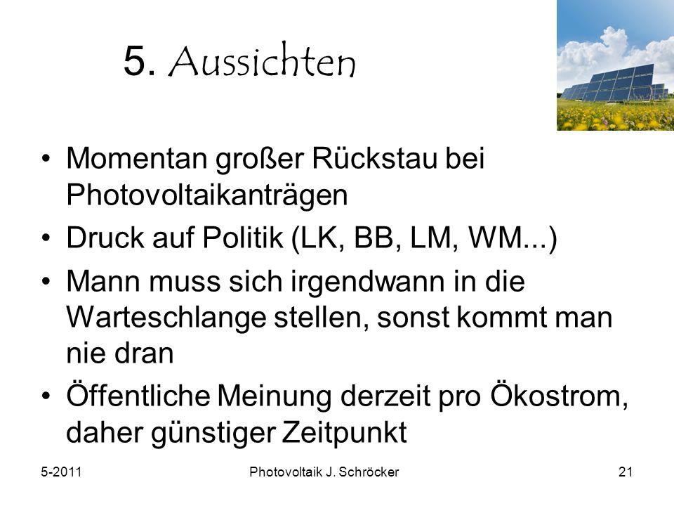 5-2011Photovoltaik J. Schröcker21 5.
