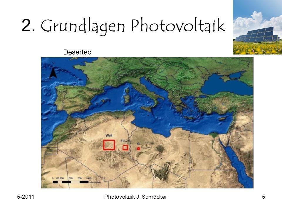 5-2011Photovoltaik J. Schröcker5 2. Grundlagen Photovoltaik Desertec