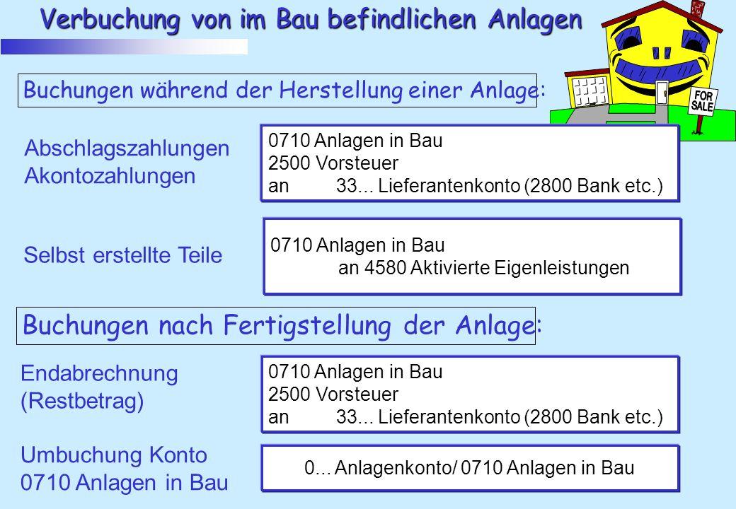 Verbuchung von im Bau befindlichen Anlagen Buchungen während der Herstellung einer Anlage: Abschlagszahlungen Akontozahlungen 0710 Anlagen in Bau 2500