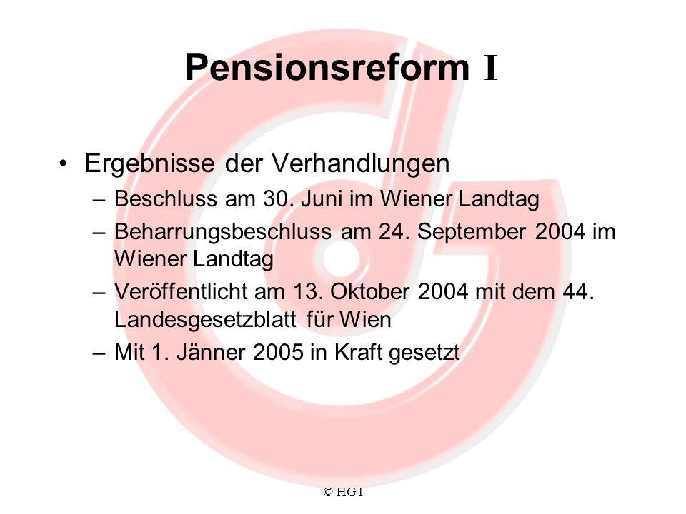 © HG I Pensionsreform I Ergebnisse der Verhandlungen –Beschluss am 30. Juni im Wiener Landtag –Beharrungsbeschluss am 24. September 2004 im Wiener Lan