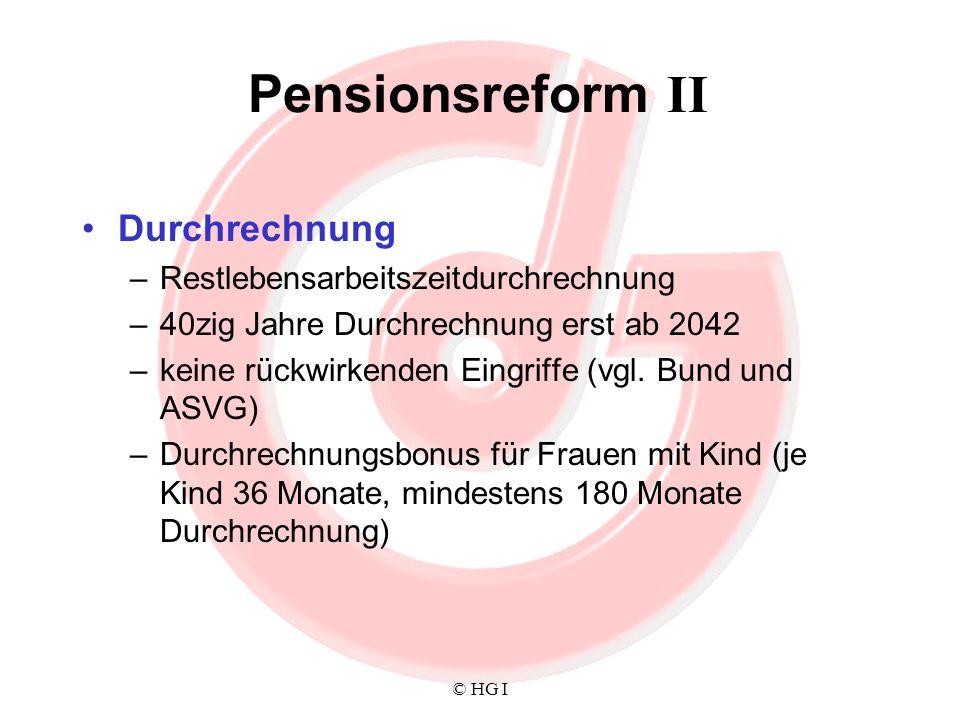 © HG I Pensionsreform II Durchrechnung –Restlebensarbeitszeitdurchrechnung –40zig Jahre Durchrechnung erst ab 2042 –keine rückwirkenden Eingriffe (vgl