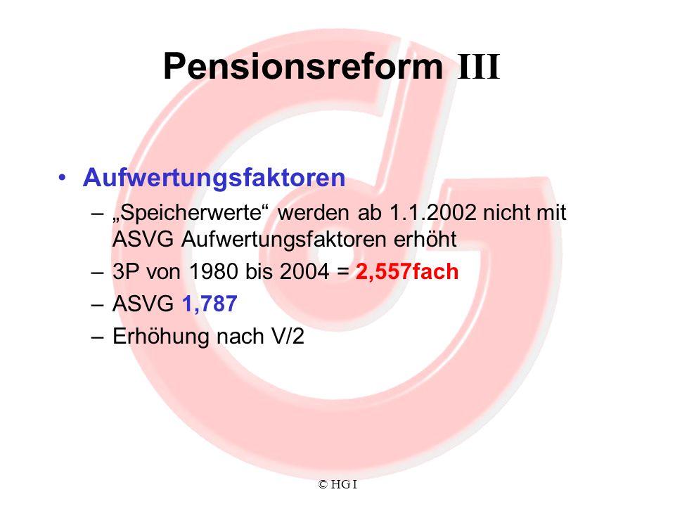 © HG I Pensionsreform III Aufwertungsfaktoren –Speicherwerte werden ab 1.1.2002 nicht mit ASVG Aufwertungsfaktoren erhöht –3P von 1980 bis 2004 = 2,55