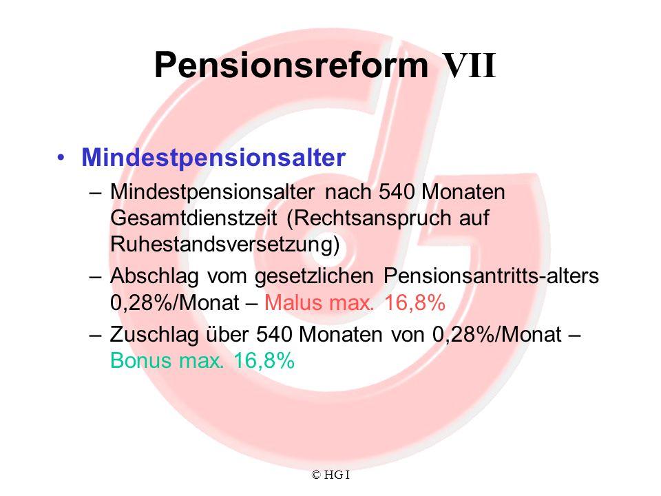 © HG I Pensionsreform VII Mindestpensionsalter –Mindestpensionsalter nach 540 Monaten Gesamtdienstzeit (Rechtsanspruch auf Ruhestandsversetzung) –Absc