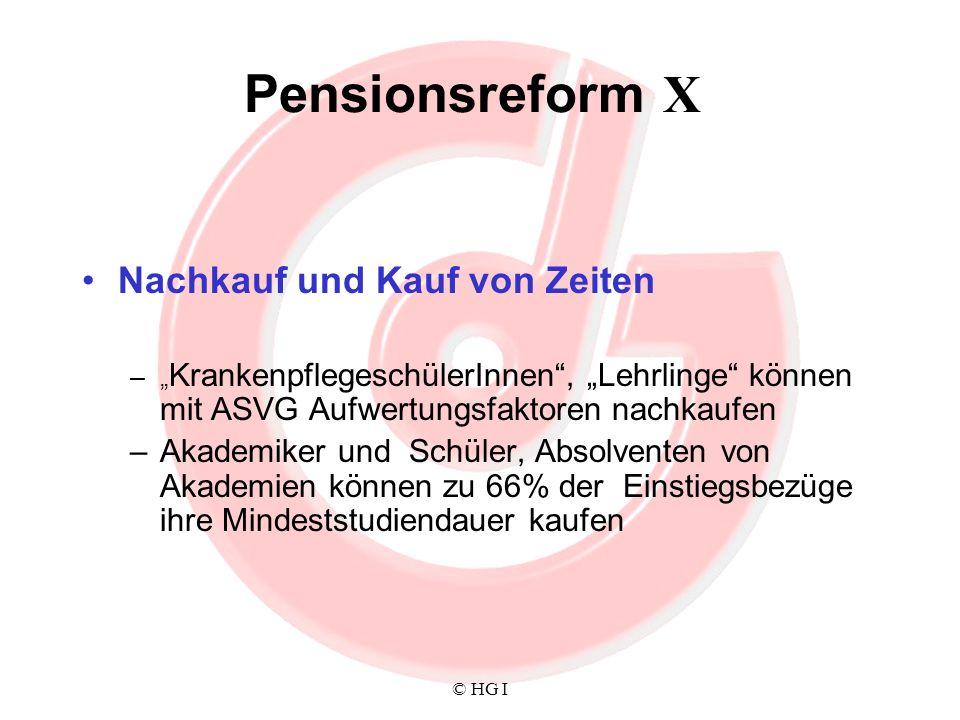 © HG I Pensionsreform X Nachkauf und Kauf von Zeiten – KrankenpflegeschülerInnen, Lehrlinge können mit ASVG Aufwertungsfaktoren nachkaufen –Akademiker
