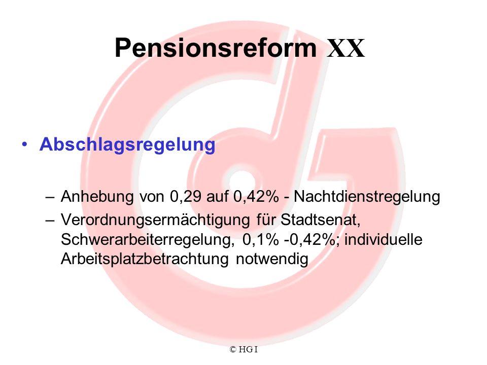 © HG I Pensionsreform XX Abschlagsregelung –Anhebung von 0,29 auf 0,42% - Nachtdienstregelung –Verordnungsermächtigung für Stadtsenat, Schwerarbeiterr