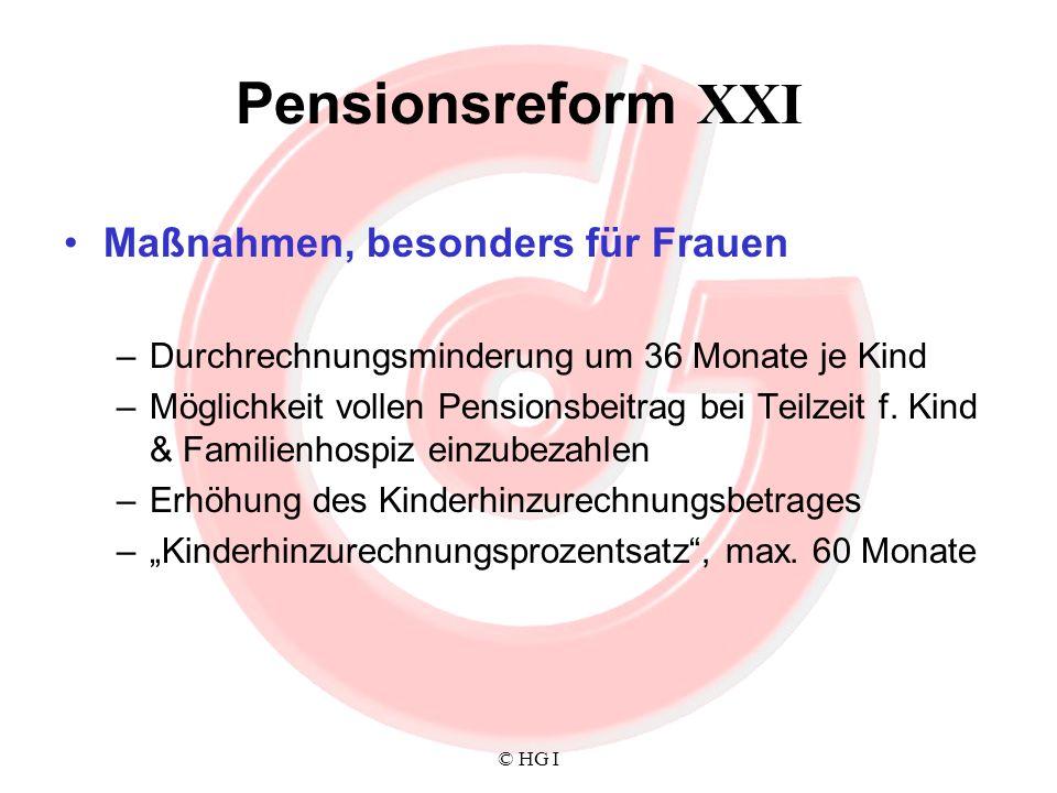 © HG I Pensionsreform XXI Maßnahmen, besonders für Frauen –Durchrechnungsminderung um 36 Monate je Kind –Möglichkeit vollen Pensionsbeitrag bei Teilze