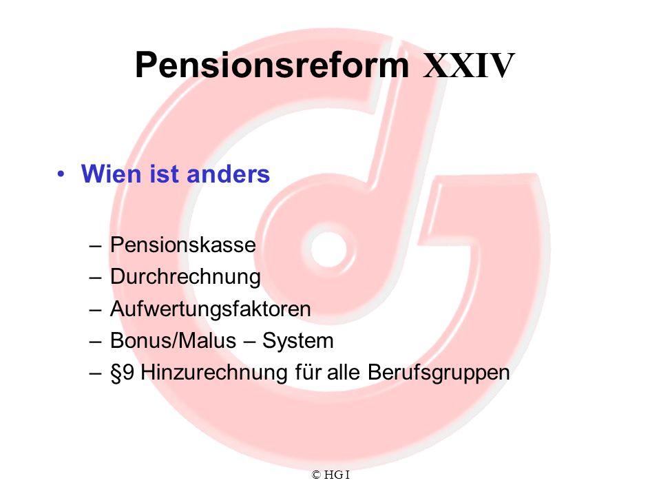 © HG I Pensionsreform XXIV Wien ist anders –Pensionskasse –Durchrechnung –Aufwertungsfaktoren –Bonus/Malus – System –§9 Hinzurechnung für alle Berufsg