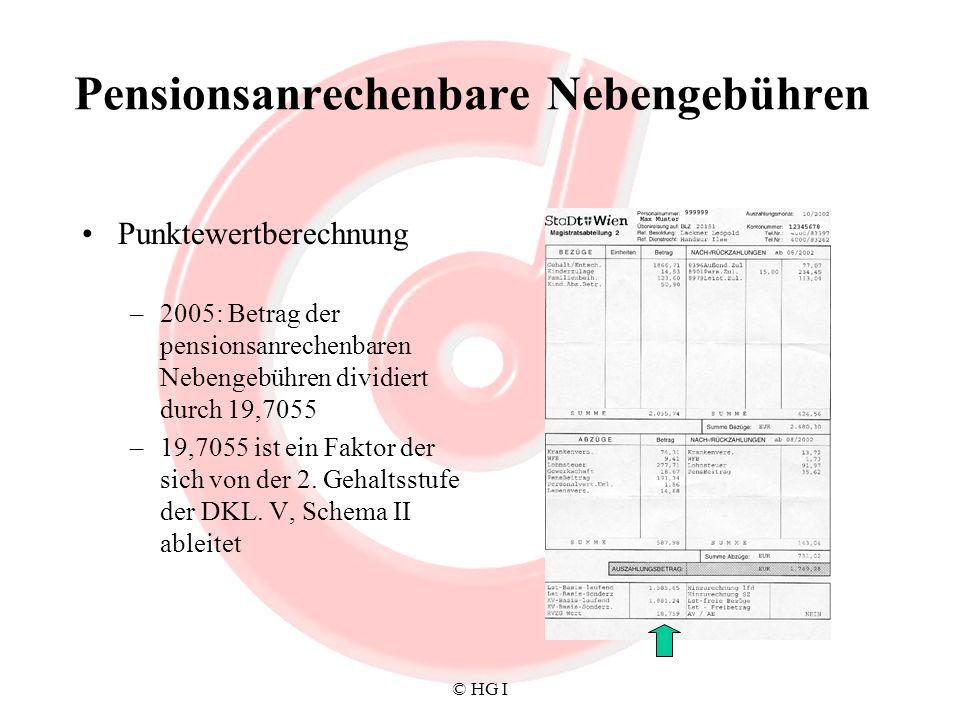 © HG I Pensionsanrechenbare Nebengebühren Punktewertberechnung –2005: Betrag der pensionsanrechenbaren Nebengebühren dividiert durch 19,7055 –19,7055
