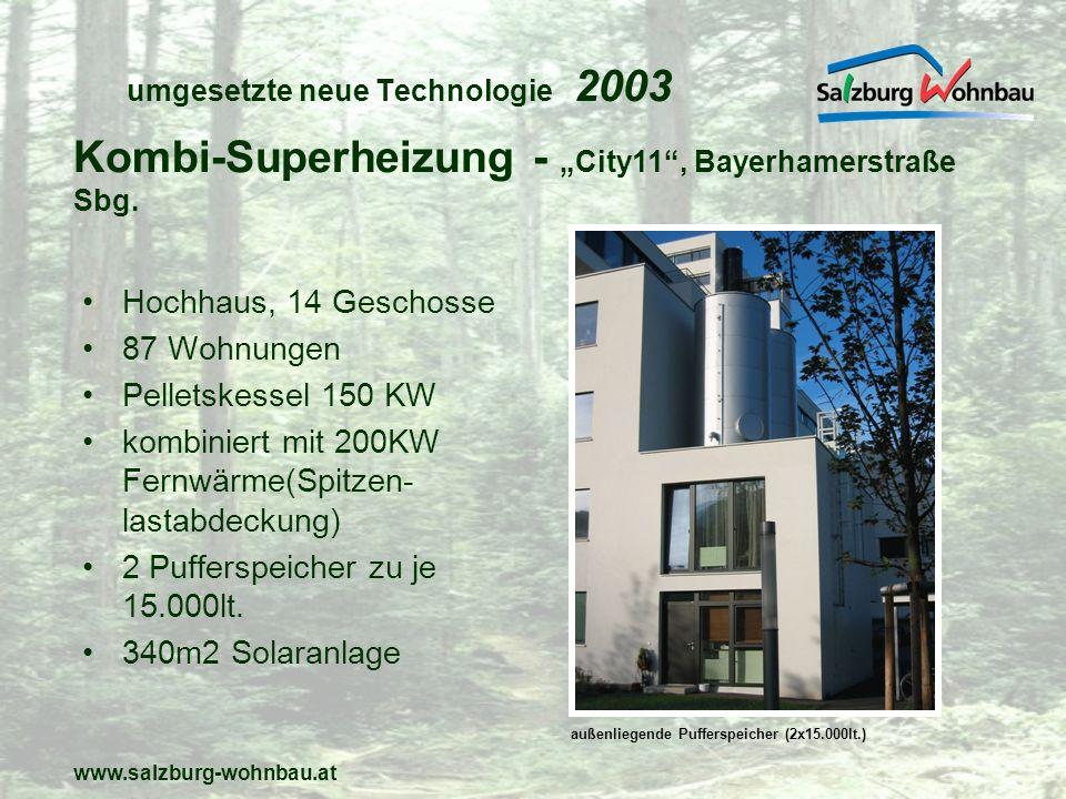 www.salzburg-wohnbau.at umgesetzte neue Technologie 2003 Hochhaus, 14 Geschosse 87 Wohnungen Pelletskessel 150 KW kombiniert mit 200KW Fernwärme(Spitz