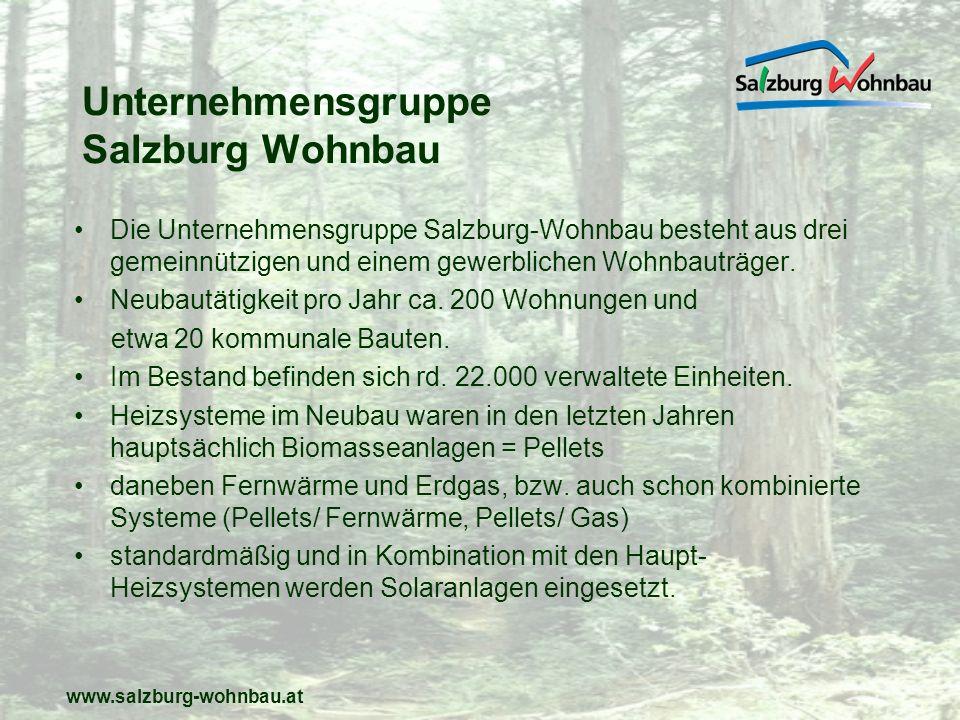 www.salzburg-wohnbau.at Forderung nach dem Einsatz erneuerbarer und heimischer Energieträger im Wohnbau Mitte der 90er Jahre 1997 wurde von Salzburg Wohnbau in Golling erstmals eine große Biomasse Heizung für 100 Wohneinheiten umgesetzt.