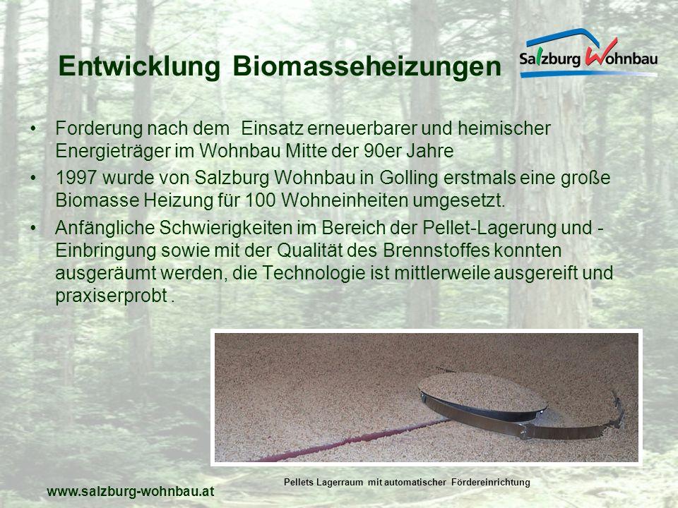 www.salzburg-wohnbau.at Biomasse- Gesamtbetrachtung Die Verwendung dieser erneuerbaren Energie trägt zum Klimaschutz bei, dazu kommen die Sicherung heimischer Arbeitsplätze, kurze Transportwege und vom Ölpreis weniger abhängige Energiekosten.