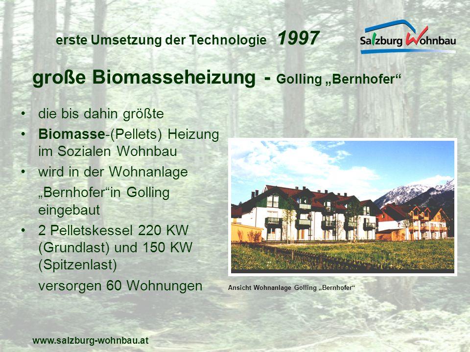 www.salzburg-wohnbau.at umgesetzte Technologie 1999 Pelletsbeheizung 50 KW Energiekennzahl: 37 W/m2/J 15 Wohneinheiten Heizkosten 2,66/m2/Jahr Holzriegelbau mit hoher Wärmedämmung zusätzlich Solar- u.