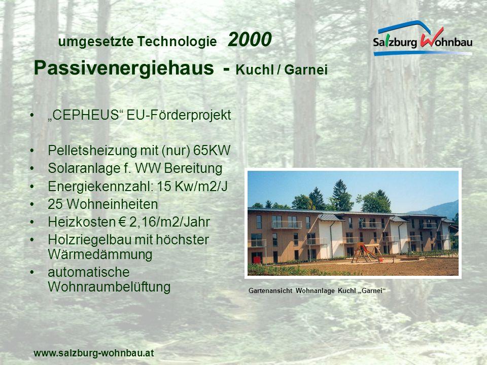 www.salzburg-wohnbau.at umgesetzte Technologie 2001 ein Pelletskessel (150Kw) kombiniert mit Gaskessel (100Kw) versorgt 37 Wohneinheiten ergänzt durch Solaranlage mit 156m2 problemlose Funktion (mit datengestützter laufender Kontrolle) niedrige Energiekosten Kombi-Heizung - Ratsbriefstraße Sbg.Schallmoos Gartenansicht Wohnanlage Ratsbriefstraße