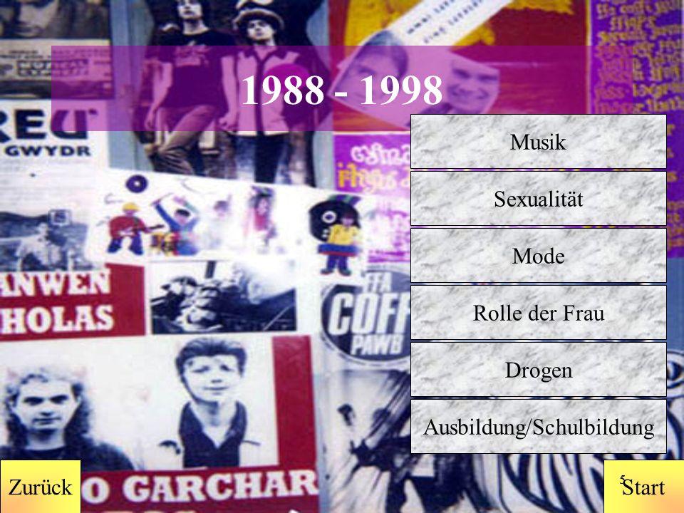 StartZurück 4 1978-1988 Zurück Musik Sexualität Mode Rolle der Frau Ausbildung/Schulbildung Drogen