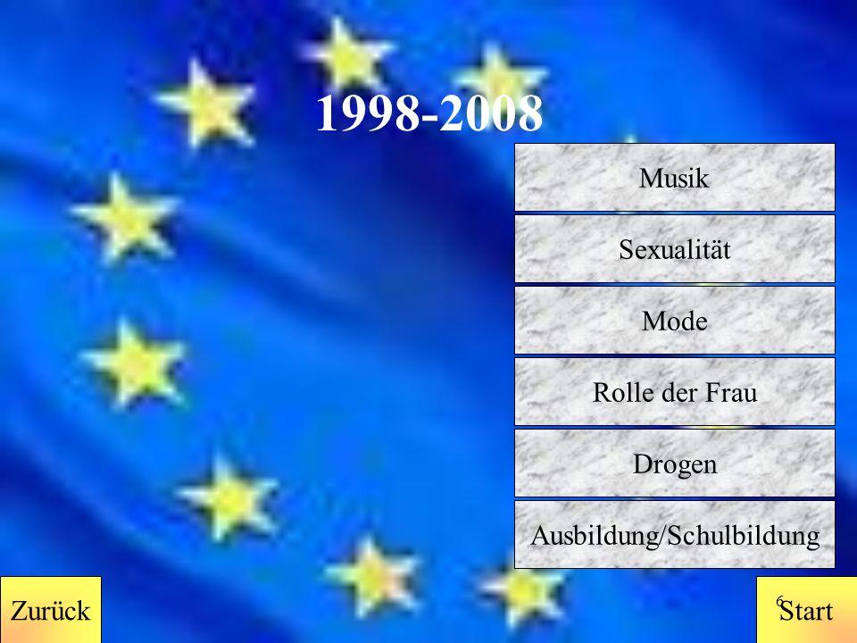 StartZurück 5 1988 - 1998 Zurück Musik Sexualität Mode Rolle der Frau Drogen Ausbildung/Schulbildung