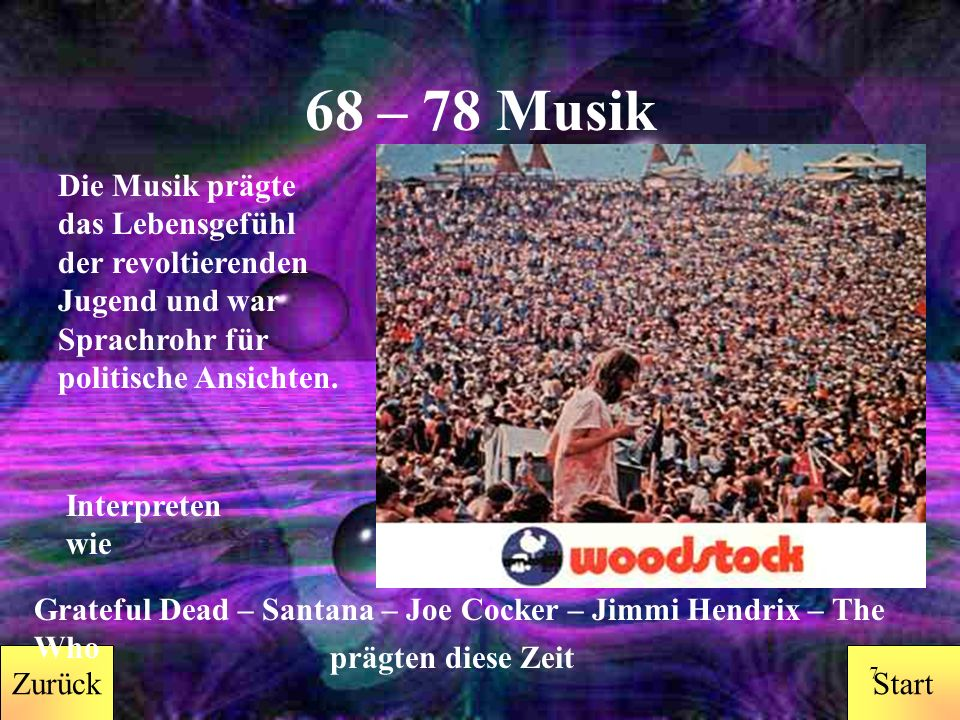 StartZurück 6 1998-2008 Zurück Musik Sexualität Mode Rolle der Frau Ausbildung/Schulbildung Drogen