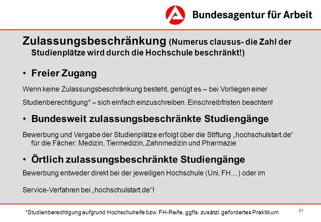 21 Zulassungsbeschränkung (Numerus clausus- die Zahl der Studienplätze wird durch die Hochschule beschränkt!) Freier Zugang Wenn keine Zulassungsbesch