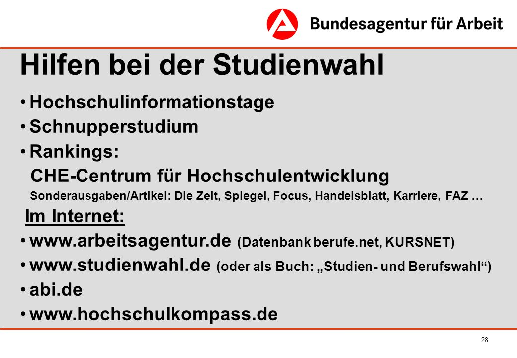 28 Hochschulinformationstage Schnupperstudium Rankings: CHE-Centrum für Hochschulentwicklung Sonderausgaben/Artikel: Die Zeit, Spiegel, Focus, Handels