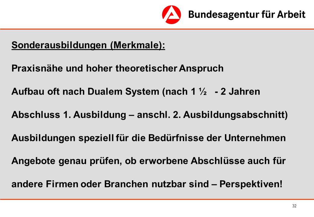32 Sonderausbildungen (Merkmale): Praxisnähe und hoher theoretischer Anspruch Aufbau oft nach Dualem System (nach 1 ½ - 2 Jahren Abschluss 1. Ausbildu