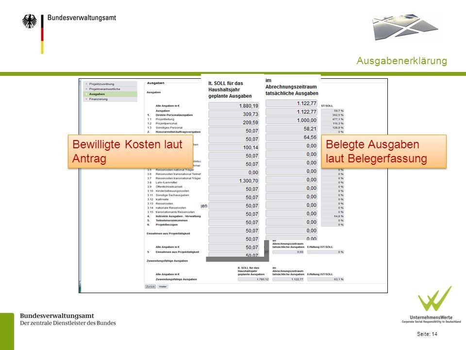 Seite: 14 Ausgabenerklärung Bewilligte Kosten laut Antrag Belegte Ausgaben laut Belegerfassung