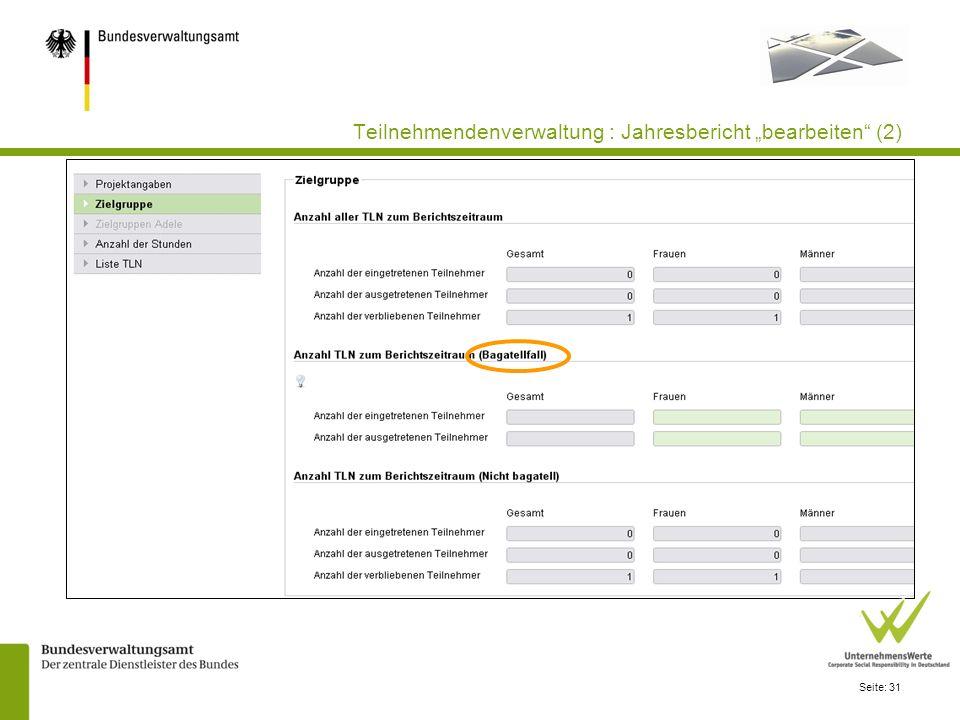 Seite: 31 Teilnehmendenverwaltung : Jahresbericht bearbeiten (2)