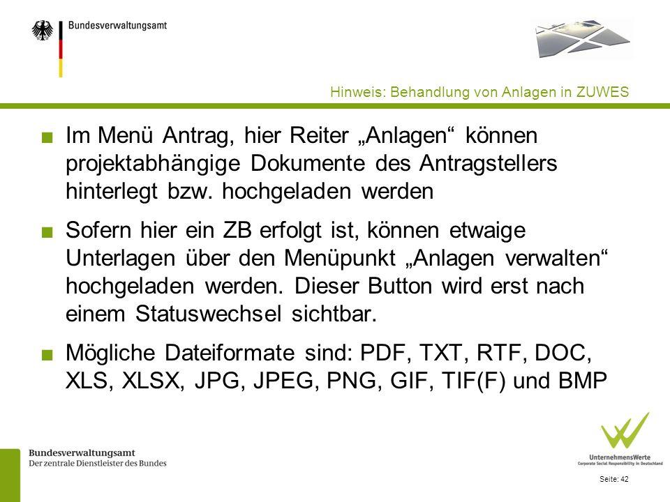 Seite: 42 Hinweis: Behandlung von Anlagen in ZUWES Im Menü Antrag, hier Reiter Anlagen können projektabhängige Dokumente des Antragstellers hinterlegt