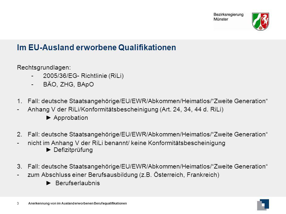 Anerkennung von im Ausland erworbenen Berufsqualifikationen3 Im EU-Ausland erworbene Qualifikationen Rechtsgrundlagen: -2005/36/EG- Richtlinie (RiLi)