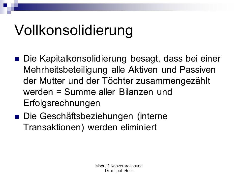 Modul 3 Konzernrechnung Dr. rer.pol. Hess Vollkonsolidierung Die Kapitalkonsolidierung besagt, dass bei einer Mehrheitsbeteiligung alle Aktiven und Pa