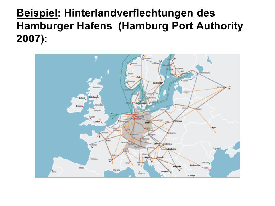 Beispiel: Hinterlandverflechtungen des Hamburger Hafens (Hamburg Port Authority 2007):