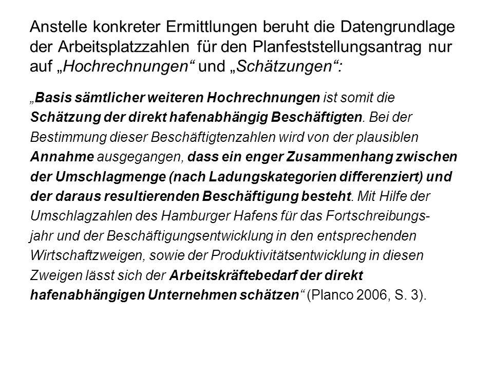 Die Realität: Entkoppelung der Umschlags- entwicklung von der Arbeitsplatzentwicklung (Ausw.