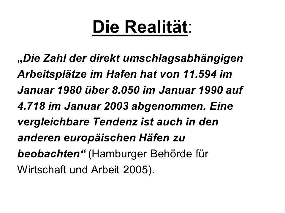 Die Realität: Die Zahl der direkt umschlagsabhängigen Arbeitsplätze im Hafen hat von 11.594 im Januar 1980 über 8.050 im Januar 1990 auf 4.718 im Janu