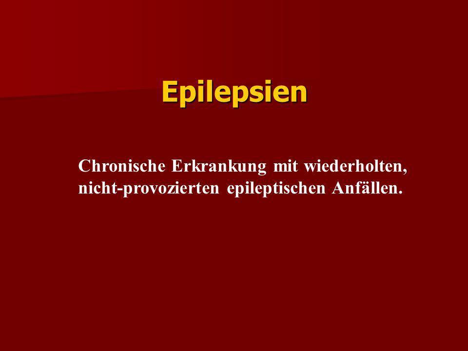 Häufigkeit Prävalenz aller Personen mit Anfällen 2-5 % Prävalenz aller Personen mit Anfällen 2-5 % Prävalenz aller Personen mit Epilepsien 0,5-1 % Prävalenz aller Personen mit Epilepsien 0,5-1 %
