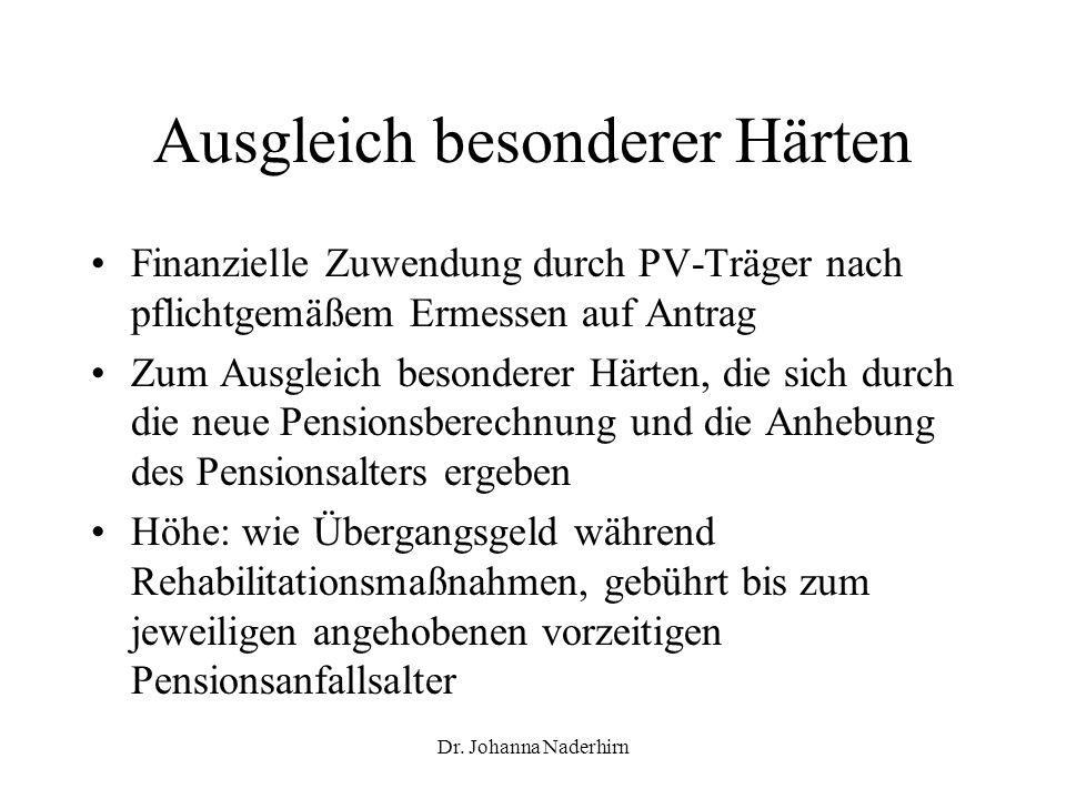 Dr. Johanna Naderhirn Ausgleich besonderer Härten Finanzielle Zuwendung durch PV-Träger nach pflichtgemäßem Ermessen auf Antrag Zum Ausgleich besonder